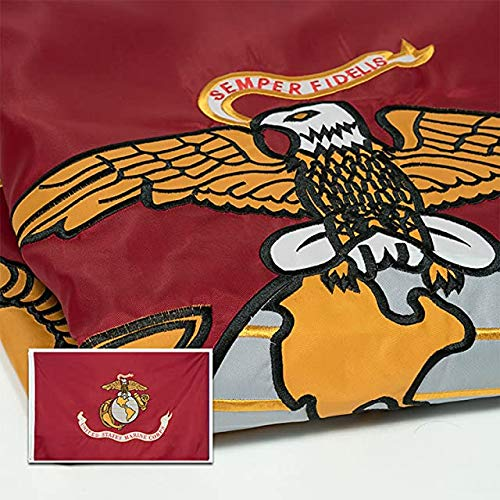 Marine Corps Flag 3x5, Heavy Duty Embroidered & Double-Sided US Military Banner| for Inside/Outside Use | UV Protected, Long Lasting Nylon | Brass Grommets for Easy Display | USMC Flag