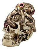 "Ebros Steampunk Sea Monster Golden Army Masked Octopus Wrapping Around Cyborg Robot Skull Statue 5.25""Tall Nautical Ocean Terror Myth Kraken Decorative Skulls Decor Figurine Science Fiction Decorative"