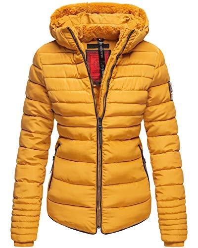 Marikoo Damen Winter Jacke Steppjacke Stehkragen Teddyfell warm gefüttert B354 [B354-Amber-Gelb-oK-Gr.S]
