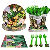 CIEOVO Zoo Jungle Animal Party Supplies - Serves 18 Guest Includes Party Plates, Spoons, Forks, Cups, Napkins Party Pack Perfect for Safari Animal Themed Birthday Shower Parties Decorations