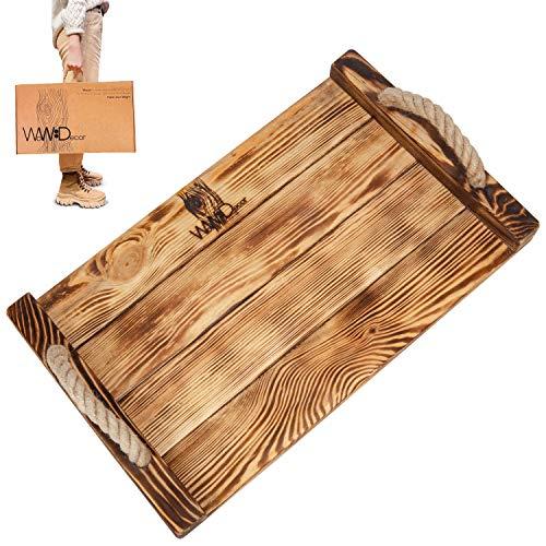 Großes rustikales Serviertablett aus Holz – Premium Couchtisch Tablett mit Griffen – Große dekorative Tabletts für Ottomane – Rechteckige Holz-Tabletts und -teller – Sofa Farmhouse Tablett Home Decor