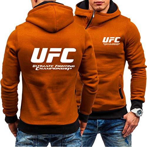 Sudadera con Capucha Impresa Sudadera con Capucha Al Aire Libre con Cremallera, Top De Manga Larga Impresa UFC, Ropa Deportiva De Fitness MMA, 3 Estilos (Color : Orange-3, Size : Large)