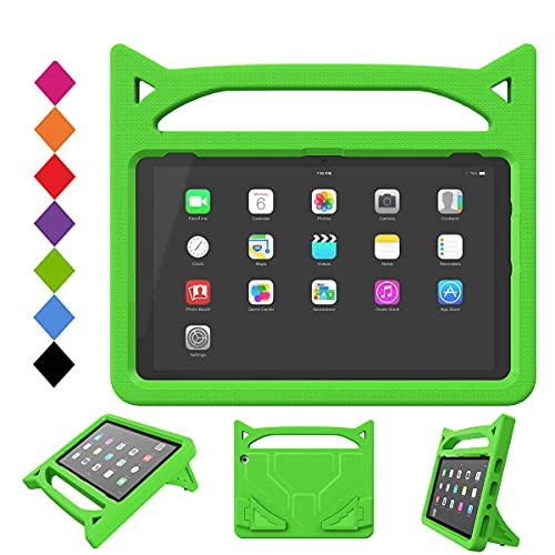 New HD 10 Tablet 2021 Case for Kids - SHREBORN Lightweight Shockproof Case with Cute Cat Handle Stand for HD 10 & 10 Plus Tablet (11th Generation, 2021 Release)- Green