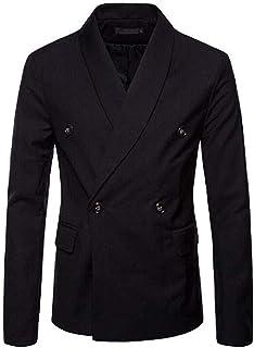 Fashion Men's Blue Double Breasted Blazer Shawl Lapel Tuxedo Jacket Waistcoat