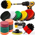 Holikme Drill Brush Attachments Set, Scrub Pads Sponge, Power Scrubber Brush with Rotate Extend Long Attachment All Purpose Clean for Grout, Tiles, Sinks, Bathtub, Bathroom, Kitchen Automobile