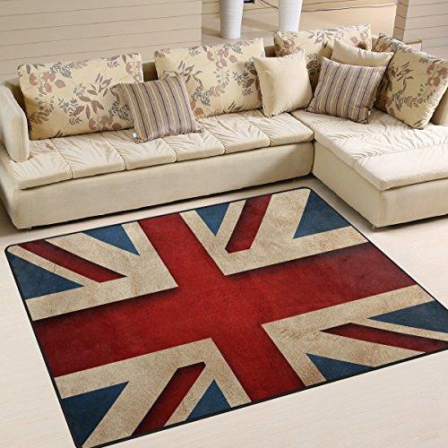Naanle British Flag Area Rug 5'x7', Vintage Style Union Jack Flag Polyester Area Rug Mat for Living Dining Dorm Room Bedroom Home Decorative