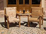 WOODEN GARDEN FURNITURE PATIO TWIN SET 2 CHAIRS   REMOVABLE TRAY JACK   JILL STRAIGHT LOVE SEAT