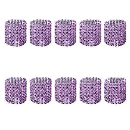 DOITOOL Serviettenringe für den Tisch, 25 Stück, eleganter Serviettenring mit 8 Reihen Strass, hübscher Serviettenhalter, Serviettenschnalle, Dekoration für Hochzeitsparty (lila)