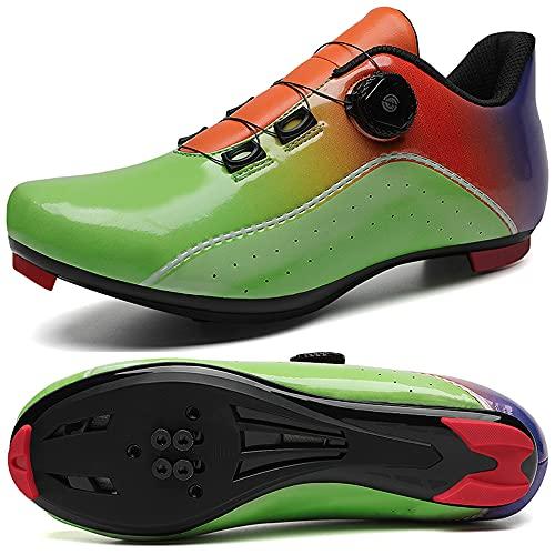 KUXUAN Zapatos de Ciclismo para Hombre con Zapatos de Bloqueo,Zapatos de Bicicleta de Mujer,Suela - Nylon,Green-6UK=(245mm)=39EU