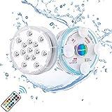 Chakev Unterwasser Licht IP68 Pool Beleuchtungen Farbwechsel Poollicht Garten Licht mit Magnet Saugnapf RF-Fernbedienung für Teich Whirlpool Badewanne Festival...