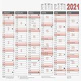 BRUNNEN 1070130001 Tischkalender/Tafelkalender A 3 Modell 701 30, 1 Seite = 6 Monate, kräftiger Karton, Kalendarium 2021