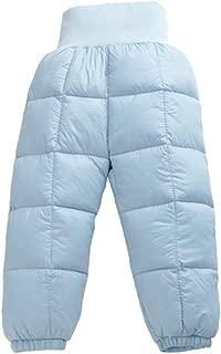 Unisex Baby Boys Girls Winter Snow Pants Kids Skiing Down Pants Waterproof High Waist Warm Trousers Windproof