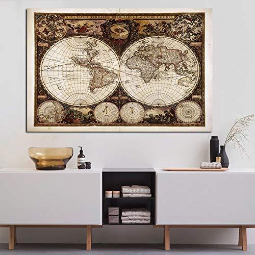 Retro Weltkarte Malerei Leinwand Malerei Poster drucken Karte Wandkarte des alten europäischen Wohnzimmer Wohnzimmer Schlafzimmer Sofa Dekoration Malerei rahmenlos A65 30x40cm