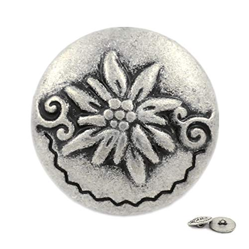 Bezelry 12 Pieces Edelweiss Antique Silver Metal Ring Shank Buttons 20mm (3/4 inch)