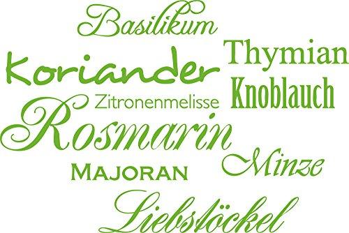 GRAZDesign Wandsticker Küche Kräuter - Wanddeko Küche Esszimmer Gewürze - Wandtattoo Küche Rosmarin / 60x40cm / 063 lindgrün