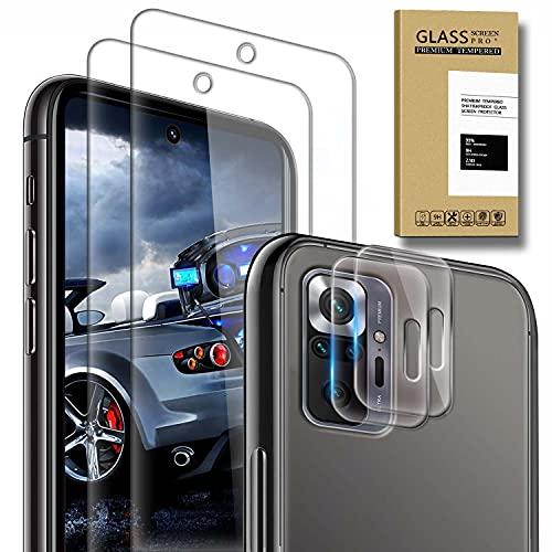 [2 Pack] Protector de Pantalla para Xiaomi Redmi Note 10 Pro/10 Pro MAX y [2 Pack] Protector de lente de cámara, Cristal Templado [9H Dureza] [Sin Burbujas] [Anti-Arañazos] HD Cristal Vidrio Templado
