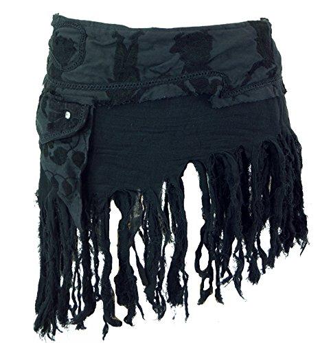GURU SHOP Goa Minirock, Wickelrock, Cacheur, Fransenrock, Damen, Schwarz, Baumwolle, Size:40, Röcke/Kurz Alternative Bekleidung