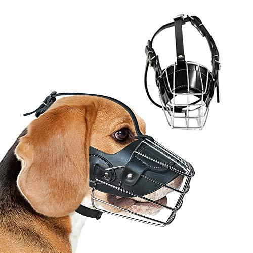 GGR Basket Dog Muzzle Breathable Pitbull Metal Mask Mouth Cover Adjustable Leather Straps Pit Bull for Large Medium Dog
