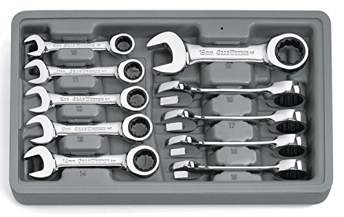 GEARWRENCH 10 Pc. 12 Point Stubby Ratcheting Combination Metric Wrench Set - 9520D