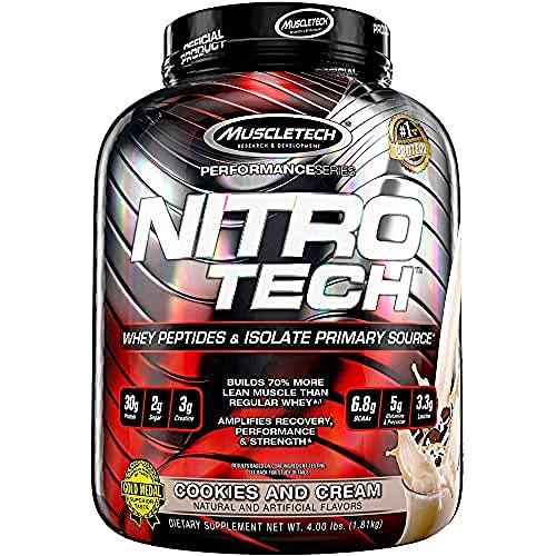 Whey Protein Pulver, MuscleTech Nitro-Tech Whey Protein Isolate & Peptides, Eiweißpulver für den Muskelaufbau, Proteinpulver für Männer und Frauen, Cookies and Cream, 1.81 kg (40 Portionen)