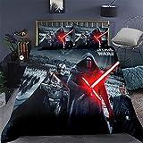 AMYZS-KK Star Wars Juego de funda de edredón, microfibra, multicolor, funda nórdica + funda de almohada con cremallera, 135 x 200 cm