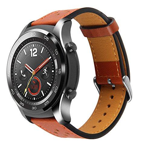 Pinhen Horlogeband voor Huawei Watch 2, klassieke horlogeband, 22 mm, lederen reservearmband, verstelbare armband met ventilatiegaten voor Huawei Watch 2 Classic, leerbruin