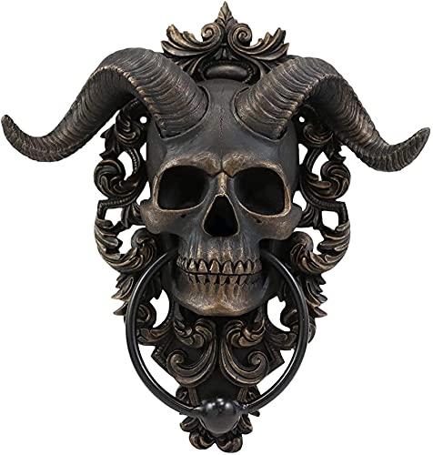Bedspread Aldaba para Puerta Colgante con Calavera de Dios con Cuernos, Placa de decoración de Pared con Filigrana de Encaje, Acento de Lucifer de Diablo satánico de 9,5 Pulgadas