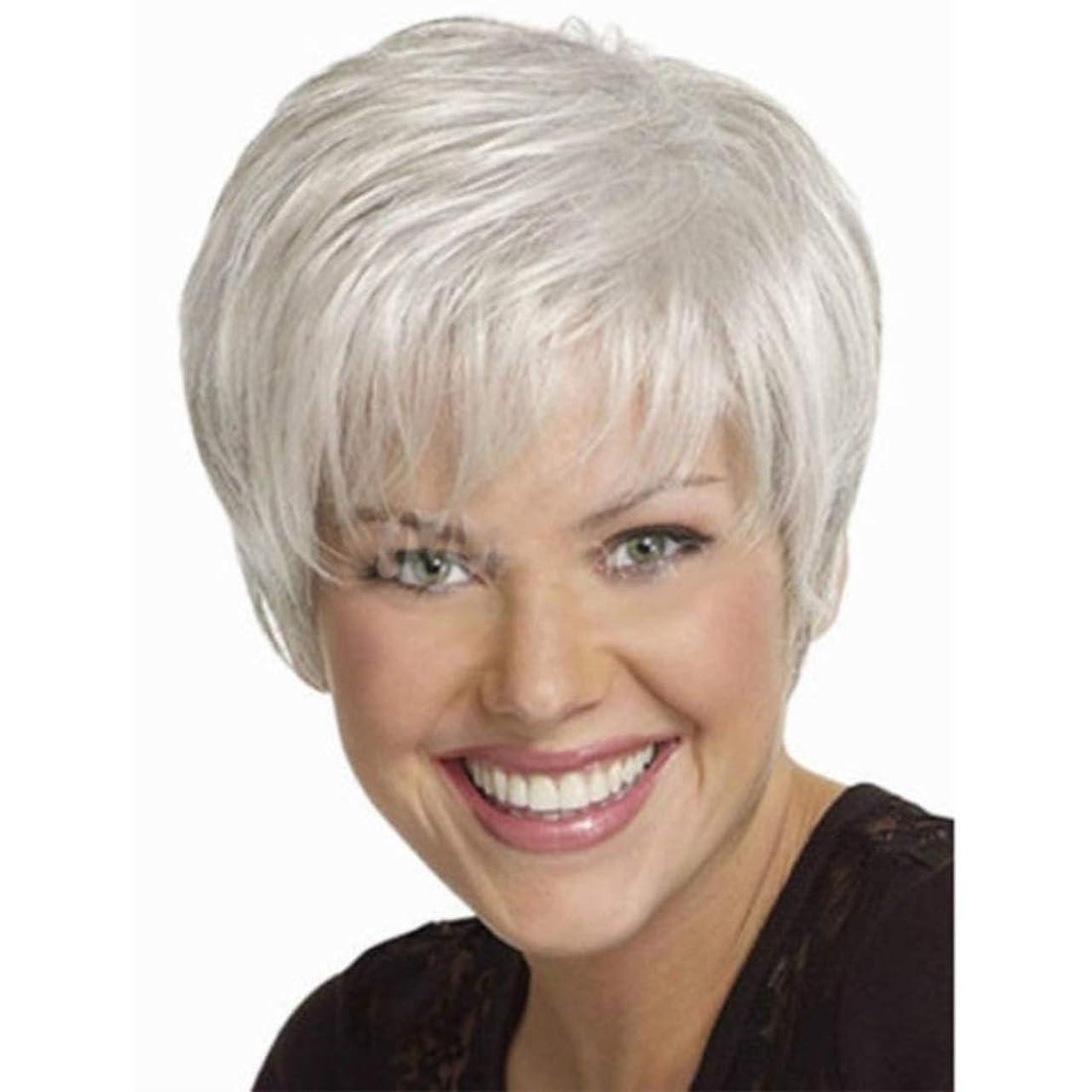 挑む送信する気をつけてSummerys ショートヘアウィッグショートストレート人工毛フルウィッグ自然に見える高温ワイヤーウィッグ女性用