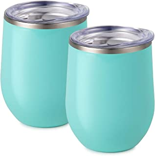 Maars Bev Stainless Steel Stemless Wine Glass Tumbler with Lid, Vacuum Insulated 12 oz Mint Cup | Spill Proof, Travel Friendly, Fun Cocktail Drinkware - 2 Pack Set