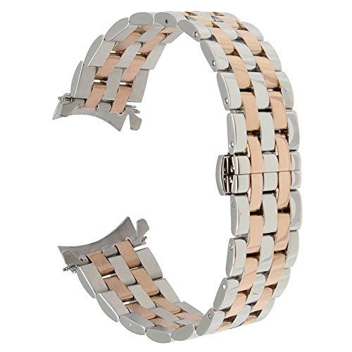 TRUMiRR para Samsung Gear S3 Classic/Frontier Correa de Reloj, 22mm Correa de Reloj de Acero Inoxidable Curvo End Strap Butterfly Hebilla Brazalete para Samsung Galaxy Watch 46 mm