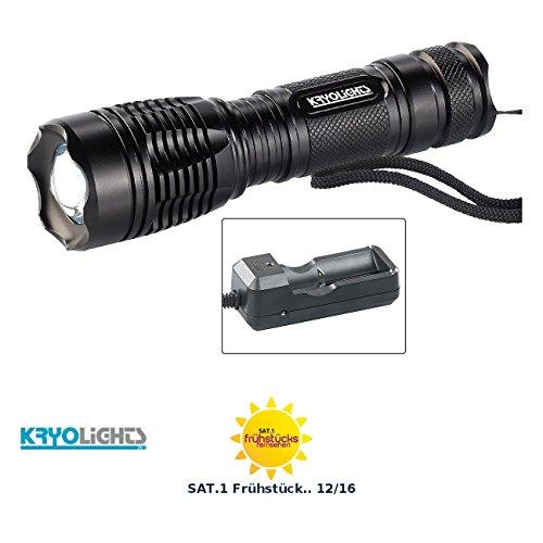 KryoLights LED-Taschenlampe TRC-144.a mit Akku und Ladegerät, 1.000 lm, IP44