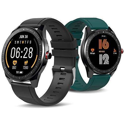 TICWRIS RS Smart Watch Hombres 31 Modos Deportivos IP68 Impermeable Bluetooth 5.0 Ultra-delgado Mujeres Smartwatch para Android iOS (Negro con correa verde)