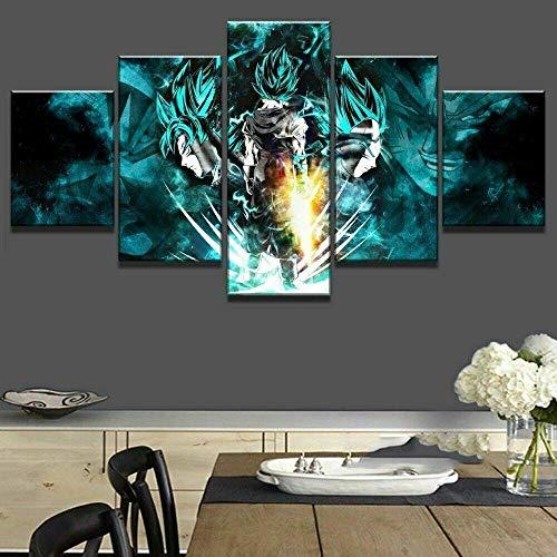 HFSDW Impresiones sobre Lienzo 5 Cuadros En Lienzo 5 Piezas Lienzo Pintura Mural Dragón Ball Z Póster De Arte Moderno Oficina Sala De Estar O Dormitorio(80x150cm)