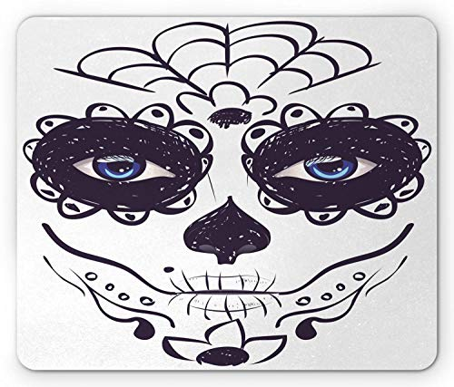 Dag van de Dode Muis Pad, Dia de Los Muertos Suiker Schedel Meisje Gezicht met Masker make-up Print, muismat Zwart Blauw