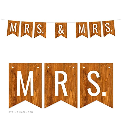 Andaz Press Rustic Barn Wood Lesbian Wedding Party Banner Decorations, Mrs. & Mrs, Approx 5-Feet, 1-Set, Colored Themed Hanging Pennant Decor