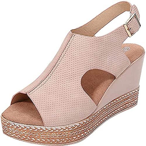 2019 Zapatos Peep-Toe Mujer, Sandalias De Talla Grande Con Plataforma Cuña Alpargatas...