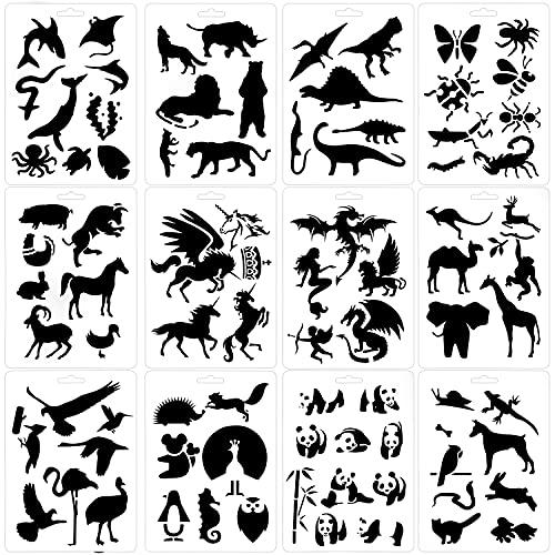 Qpout 12pack Modelli di Animali per Bambini,Stencil riutilizzabili di Pittura Animale in plastica per Notebook Scrapbooking per Notebook per Bambini sulla Decorazione di Mestieri di Carta di Legno