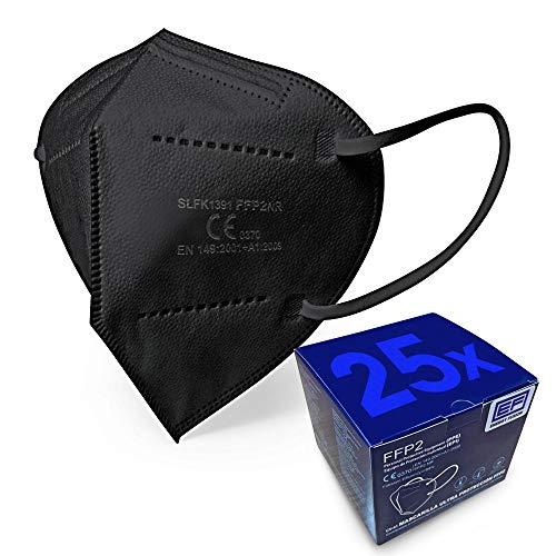 ENERGY FUSION Mascarilla FFP2 Negra Ultra Proteccion, Homologada, Certificación CE 2163 (25-unidades)