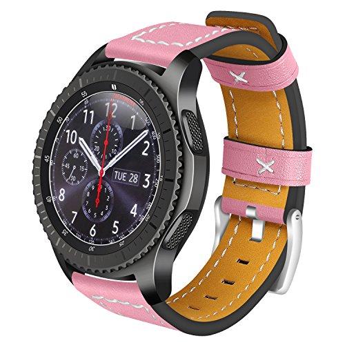 Armband Für Samsung Gear S3 Classic Leder, AISPORTS Samsung Gear S3 Frontier Leder Uhrenarmband Smartwatch Ersatz Uhrenarmbänder Armbänder für Samsung Gear S3 Frontier/Classic - Rosa