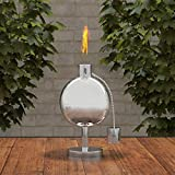 "Pure Garden 50-220 Tabletop Torch Lamp-10"" Stainless Steel Outdoor Fuel Canister Flame Light for Citronella with Fiberglass Wick for Backyard, Patio"