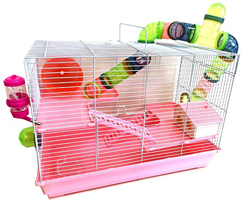 Large 3-Levels Dwarf Hamster Habitat House Cage for Rodent Gerbil Mouse Mice Rat with Crossover Tube Tunnel Expandable and Customizable