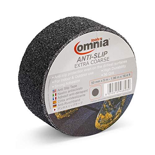 OMNIA TOOLS EXTRA COARSE anti-slip band | anti-slip band voor binnen en buiten | zelfklevend 50 mm x 5 m zwart