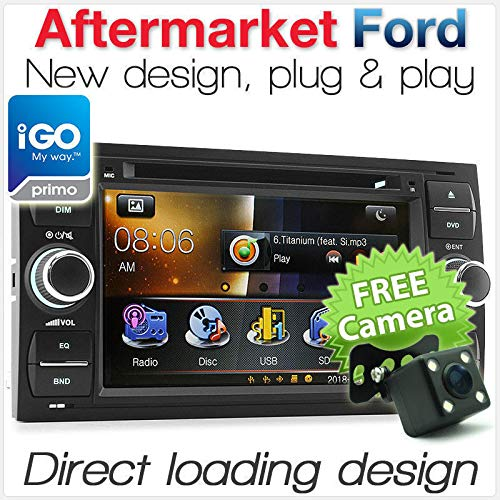 tunez Double Din Auto Stereo CD DVD MP3 MP4 GPS Sat Nav Speler voor Ford Focus Transit C-Max Fiesta Fusion Mondeo Galaxy
