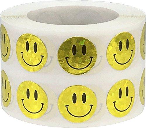 Gelbe Funkelnde Glückliches Gesicht Aufkleber, 13 mm 1/2 Zoll Glänzende Holografische Kreis Etiketten 1000 Packung