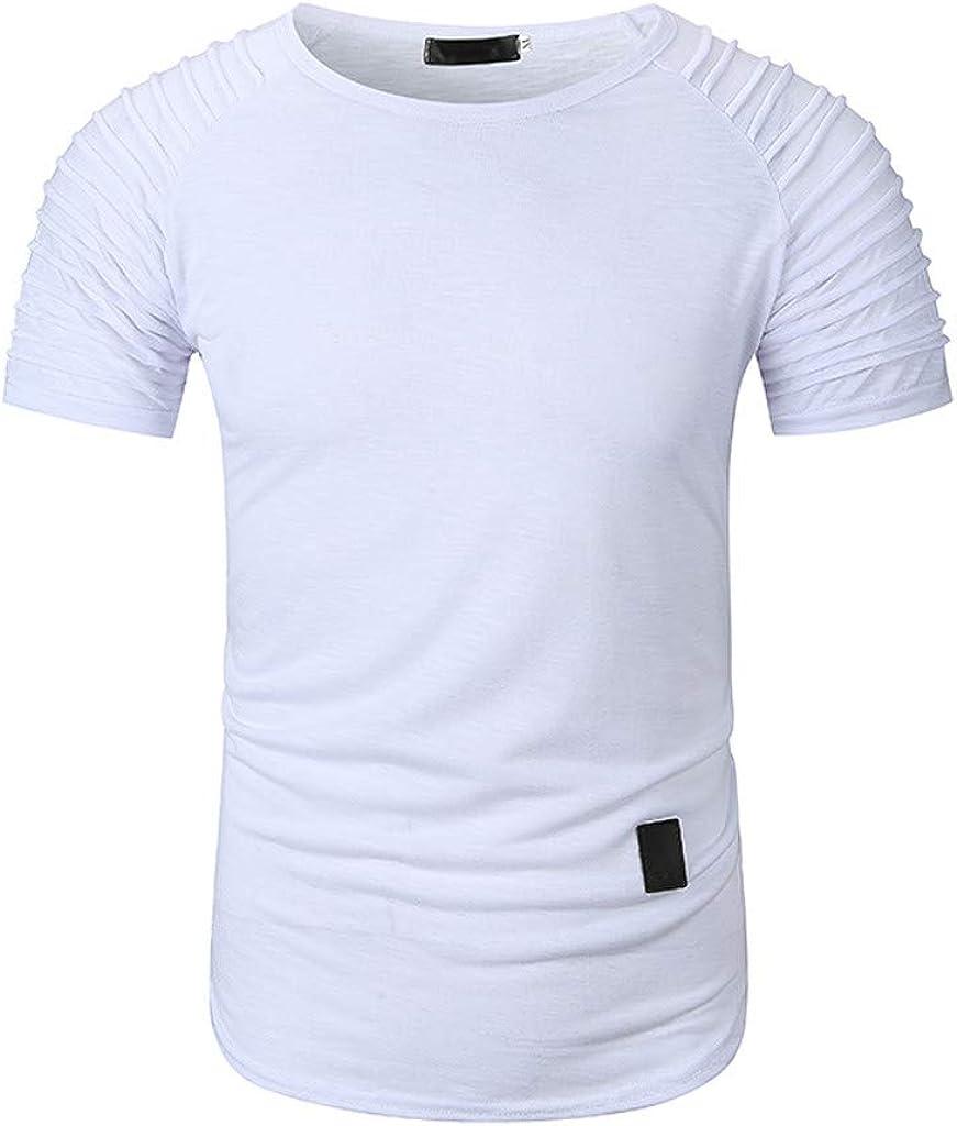 IHGTZS T-Shirts for Men Mens Summer Pleats Gradient Pattern Casual Fashion Lapel Short Sleeve Shirt