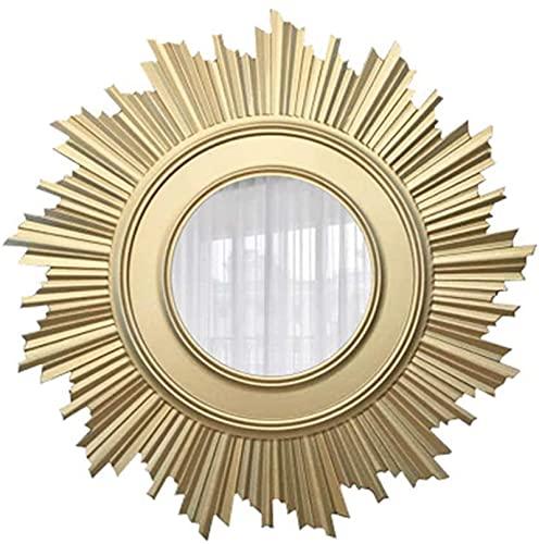 Flor del Espejo de la Pared del Sol, Redondo Grande Creativo Decorativo Europeo Espejos Accesorios de la Vida en la Sala de la casa Pared forjada Espejo Retro Entrada,90CM