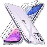 Losvick Cover Compatibile con iPhone 11 con 3 Pezzi Pellicola Vetro Temperato, Custodia Silicone TPU Morbido Protezione Antiurto Anti-Graffio Resistente Case per iPhone 11-6.1 Pollici - Trasparente