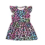 QLIPIN Toddler Baby Girl Leopard Dress Ruffle Fly Sleeve Holiday Dress Overall Outfit Summer Clothes Black