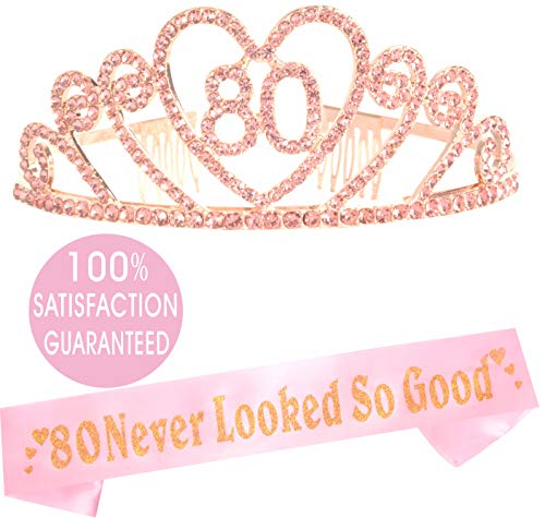80th Birthday Gifts for Women, 80th Birthday Tiara and Sash, Happy 80th Birthday Party Supplies, 80 Never Looked So Good Glitter Satin Sash and Crystal Tiara Crown, 80th Birthday Party Decorations