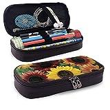 XCNGG Estuche para lápices neceser Sunflower Pattern PU Leather Pencil Case School Office Use Zipper Stationery Organizer